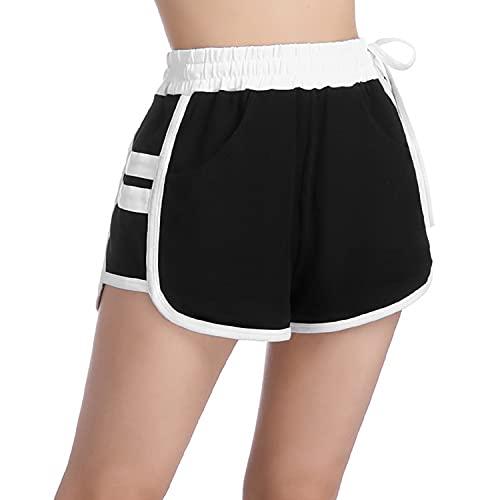 Sykooria Pantalon Corto Deportivo Mujer, Shorts para el Gimnasio Mujer Algodón Cintura Elástica Pantalones Chandal Cortos para Hacer Ejercicio Trotar Yoga Running Pijamas Casual Suelto Elástico
