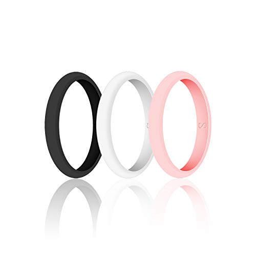 SANXIULY Womens Wedding Silicone Ring& Thin Rubber Wedding Bands for Workout and Sports Width 3mm Pack of 3 Size 6