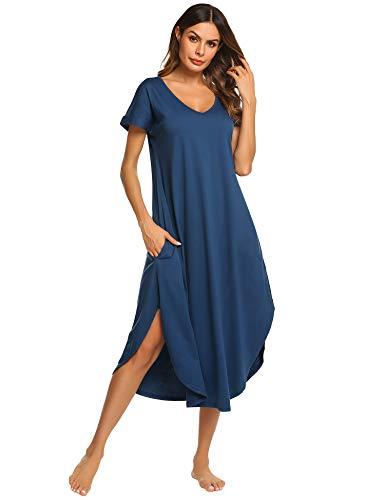 Ekouaer Pajamas Dress Women's Cotton Sleep Shirts Soft Knit Sleepwear Nightgown (Navy Blue,S)