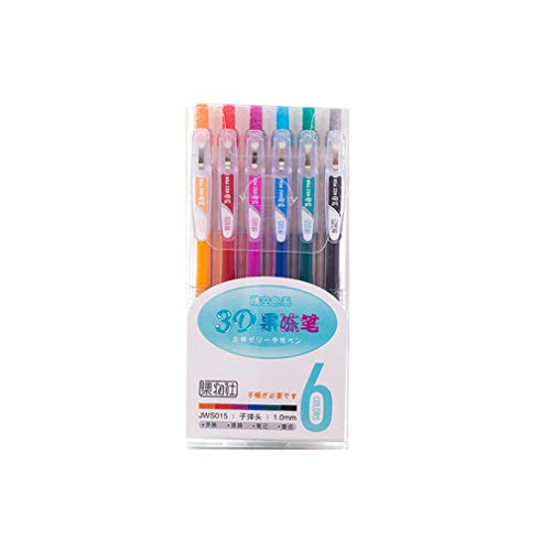 6Pcs 3D Jelly Pen Set Cute DIY Painting Gel Pen Creative Colored Neutral Pens For Girl School Supplies für Zeichnen Schreiben Erwachsene (A)