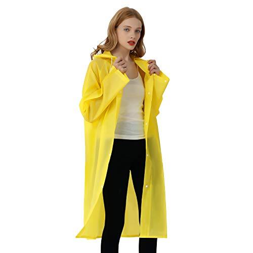 UNIQUEBELLA Regenmantel Eva Travel Transparent Regenponcho Regen Zubehör für Damen und Herren Regenbekleidung Regencape Regenjacke Wasserdicht für Wandern Radfahren Camping und Reisen (Gelb, L)