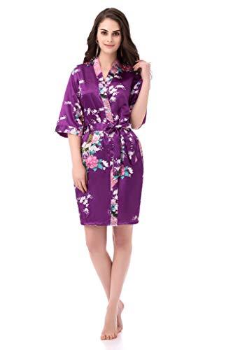 Kimono Robes for Women Floral Peacock Short Silk Bridesmaid Robes Wedding Party Plum XL
