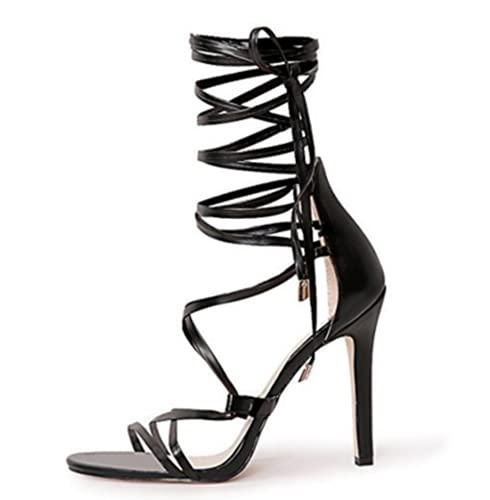 Gladiator Black Stiletto Strappy Heel Sandals Open Toe Lace Up High Heels Criss Cross Black Tie Up Sandals Size 9