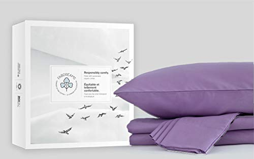 Fabdreams 100% Organic Cotton Queen Lilac Sheet Set- Sateen Weave- 4 Piece- 400 Thread Count- GOTS Certified- Soft Silky Shiny Finish- Fits Upto 19' Deep Mattress Pockets- Environment Friendly