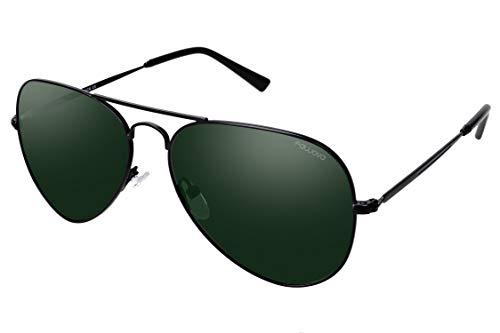 fawova Gafas Mujer Aviador Mujer Polarizadas Con Lent Verde,2019 Gafas de Sol Aviador Unisex con Montura de Metal Negro, Conducir, Pescar, Golf, Correr, Cat.3