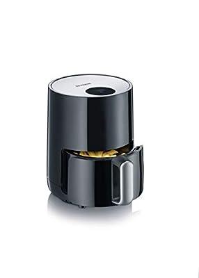 Severin Multicuiseur/Friteuse sans Huile à Air Chaud, 900 W, 1,8L, avec Thermostat et Minuterie Réglables Individuellement, Panier Amovible et Anti-Adhésif, Inox/Noir, FR 2455