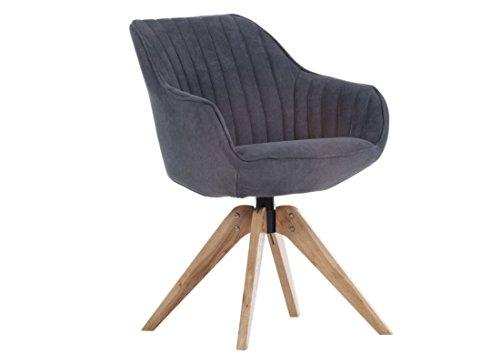 Sessel in dunkelgrau mit Holzgestell