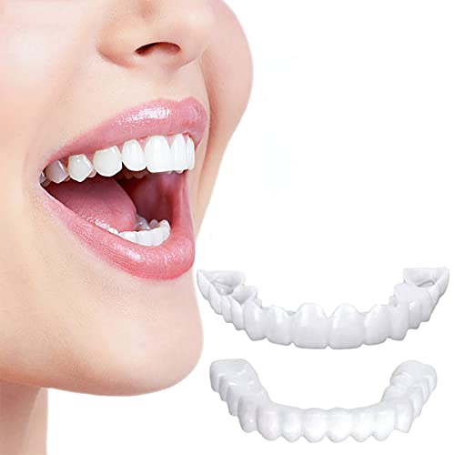 MXFYY Funda Dental Silicona Simulación Dientes Blanqueador Dientes Falso Snap on Smile Veneers Dientes Blanquear Sonrisa Falsos Dientes Cubrir Suitable for Adults,3pairs