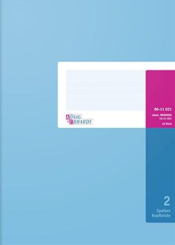 König & Ebhardt 8611021 Geschäftsbuch (A4, mit Kopfleiste, 2 Spalten, 32 Zeilen, 80g/m², 40 Blatt, Drahtheftung)
