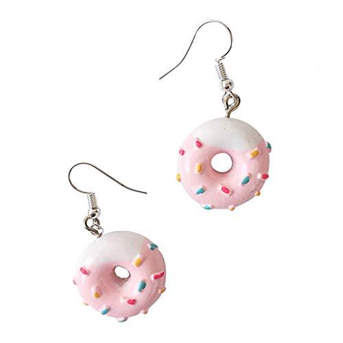 wuweiwei12 1 Paar Donut-Ohrringe, kreativ, niedlich, Mini-Simulation, lustige Ohrringe, Persönlichkeit, Cartoon, Kunststoff, Kuchen, Party-Schmuck Einheitsgröße # D