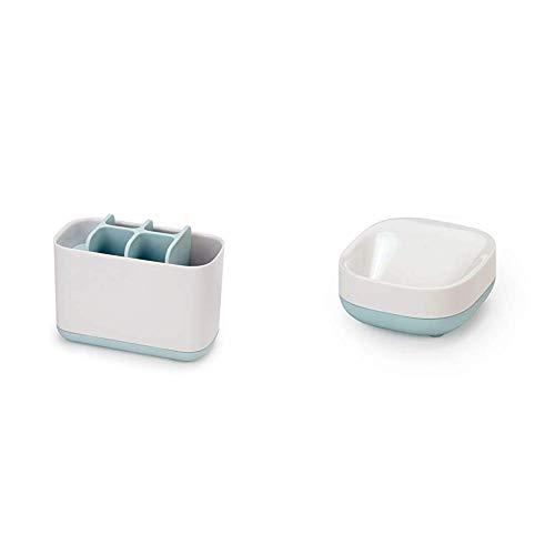 Joseph Joseph Slim - Kompakte Seifenschale - weiß/blau + Easy-Store - Großer Zahnbürstenhalter, weiß/blau