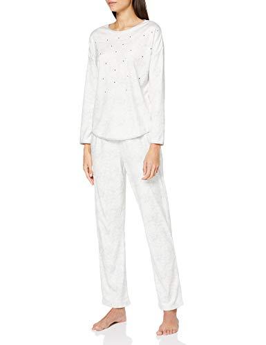 Women' Secret Pijama Largo Velour Detalles Strass Juego, Gris Oscuro, S (Pack de 2) para Mujer