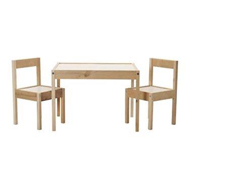 IKEA LÄTT Kindertisch mit 2 Stühlen, weiss/Kiefer
