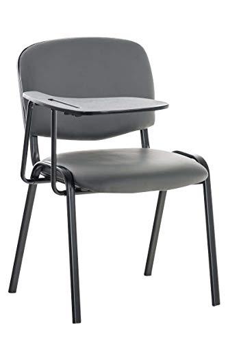 CLP Besucherstuhl Ken mit Klapptisch | Robuster Konferenzstuhl mit gepolsterter Sitzfläche und Kunstlederbezug, Farbe:grau