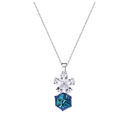 zlw-shop Collar de Mujer Forma cristalina Flor Cubo Collar Azul, Creativo Aniversario Colgante, Collar de Las señoras, 925 joyería de Plata esterlina Collares Pendientes