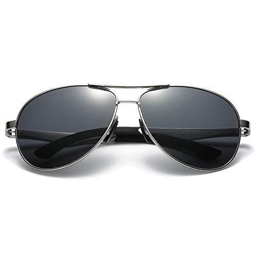 LCSD Gafas de sol Color Film Wild Aluminum Magnesium Material Nuevas Gafas de sol Negro Lens Negro/Plata/Gun Frame Gafas de sol de conducción para hombre (Color: Plata)