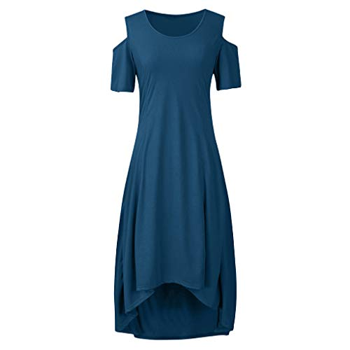 Best Price WEISUN Women Casual Dress Summer Plus Size O-Neck Dress Fall Solid Color Off-Shoulder Sho...