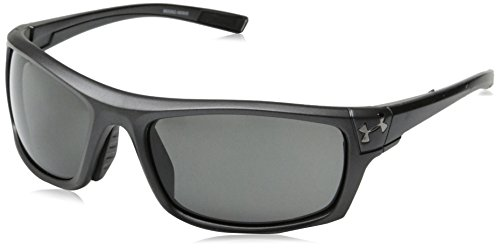 Under Armour Keepz Rectangular Sunglasses, Satin Carbon/Gray Lens, 60 mm