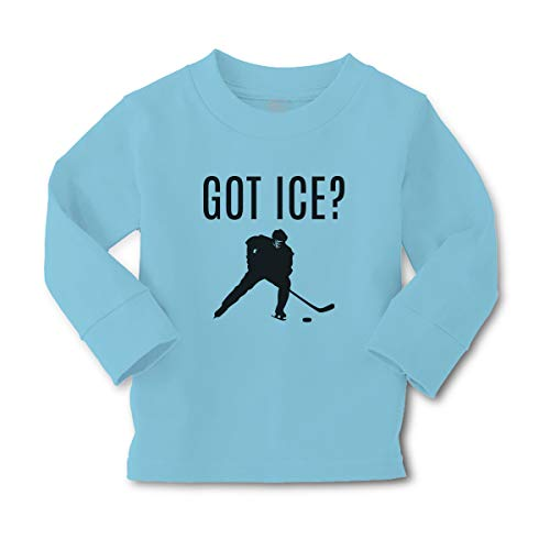 Kids Long Sleeve T Shirt Got Ice Sports Hockey Player Silhouette Cotton Boy & Girl Clothes Funny Graphic Tee Light Blue Design Only 3T