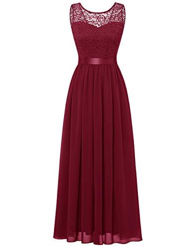 BeryLove Damen Abendkleid Elegant Cocktailkleid Lang Brautjunferkleid Chiffon Spitzen Kleid Hochzeit Party Dunkelrot BLP7025 DarkRed XS