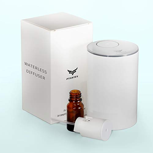 Diffuser for Essential Oils Waterless Battery Operated Diffuser for Home, PtahTex Aromatherapy Diffuser for Car, White