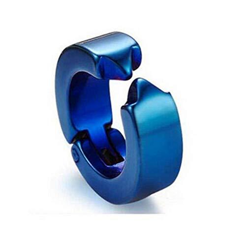 XIANGAI Elegant 1Pc Fashion Titanium Steel Clip No Piercing Hoop Earless Earring Ear Clips Men's Jewelry,Colour Name:Black Earring (Color : Blue Earring)