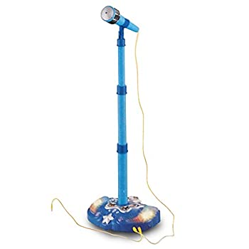 LilPals Child s Karaoke -Children s Toy Stand Up Microphone Play Set w/ Built-in MP3 Player Speaker Adjustable Height  Blue