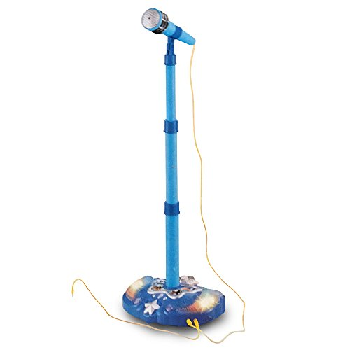 LilPals Child's Karaoke -Children's Toy Stand Up Microphone Play Set w/ Built-in MP3 Player, Speaker, Adjustable Height (Blue)