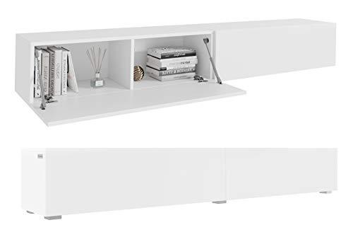 PLATAN ROOM Fernsehschrank TV-Lowboard 210 cm In Weiß Hängend Oder Stehend Matt (210 (2x105) x 30 x 32, Weiß Matt/Weiß Matt)