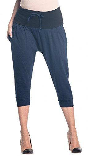 Zeta Ville - Womens Maternity Capri Pants Stretch Contrast Waistband - 582c (Navy, US 14, 2XL)
