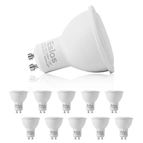 Eslas 6W GU10 LED Lampe Warmweiß,3000K 600 Lumen LED Leuchtmittel,Ersatz für 60W Halogenlampen,LED Birnen,Nicht Dimmbar,120° Abstrahlwinkel 10er-Pack [Energieklasse A++]