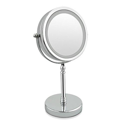JOYIYUAN Miroir de Maquillage éclairé Double Face grossissant 10X, Miroir de courtoisie LED Anti-Ombre LED argenté 7 Pouces, Batterie (Couleur : Silver)
