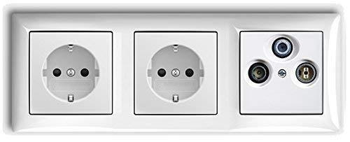 BUSCH JÄGER Komplettset/Antennensteckdosen-Einsatz Radio/TV/SAT (**) WISI + 3fach Rahmen und Abdeckung inkl. 2 x Steckdosen 20 EUC-914 Balance SI alpinweiß
