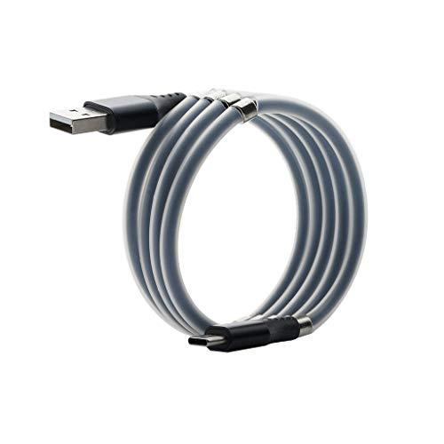 Magnetisches Typ C Kabel Absorption Data Cable,USB C Ladekabel und Datenkabel Charge Ladekabel für Samsung Galaxy S10/S9/S8+,Huawei P30/P20, Google Pixel, Sony,(Knoten verhindern) (Schwarz)