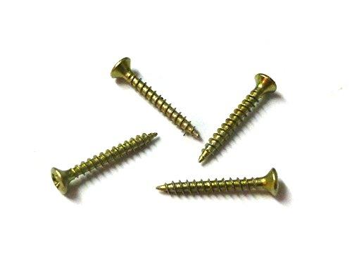 100 Stück MINI-Spanplattenschrauben (Senkkopf mit PZ-Kreuzschlitz) Stahl gelb verzinkt 2x12mm für Modellbau oder zur Restauration
