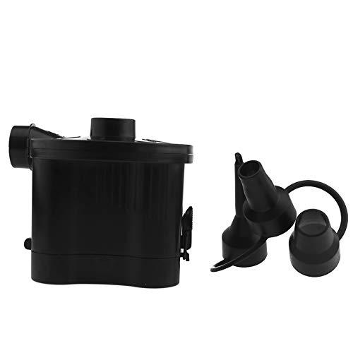 ENET Elektrische Luftpumpe, tragbar, batteriebetriebener Inflator mit 3 Düsen, schwarzer Ersatz für Spielzeug Luftbett