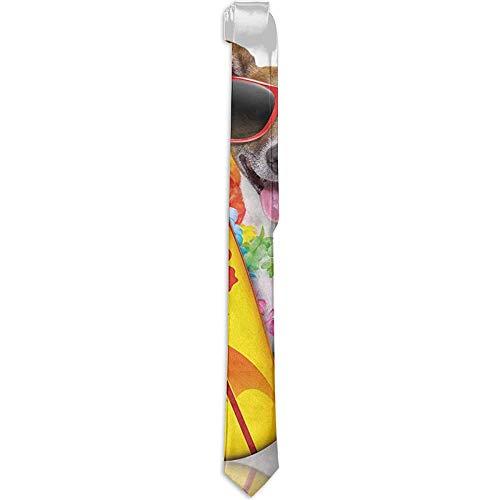 Corbata Surfer Puppy con gafas de sol y flores de hibisco tropical Hawaiian Dog Print, corbatas para hombres