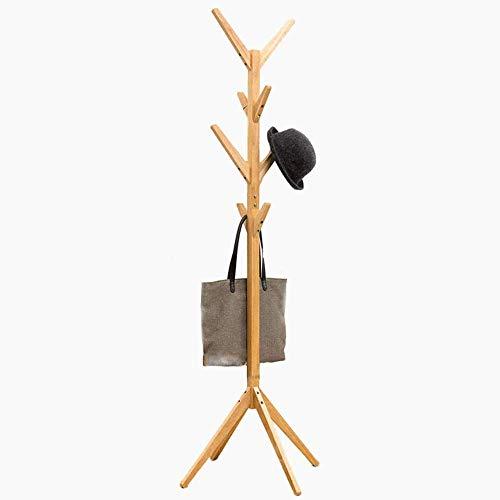 BAKAJI Attaccapanni Appendiabiti di Design a Piantana da Terra in Legno di Pino con 8 Ganci Appendi Abiti e Base a 4 Piedi Colore Legno Bamboo Naturale Dimensioni 176 x 60 cm