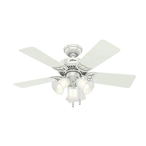 Hunter Fan Company Hunter 51010 Southern Breeze 42-inch White Ceiling Fan with Five Bleached Oak Blades and Frosted Glass Light Kit