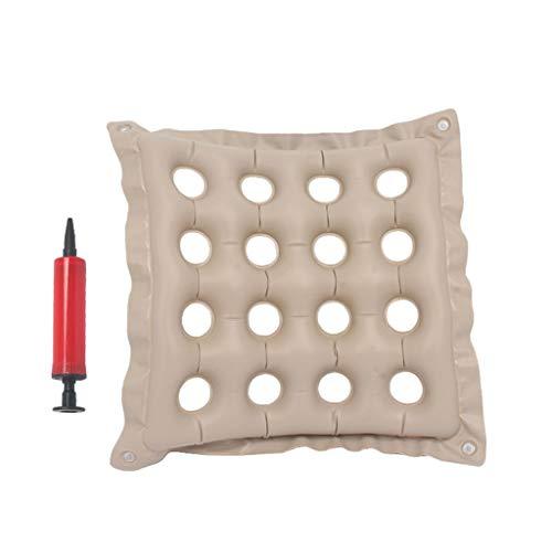 Kissen Old Man Anti-Dekubitus aufblasbar Hüftkomfort Atmungsaktiv Bett Home Anti-Rutsch-Matte für ältere Menschen Schwangere Frauen Luftmatte für Bürostühle Rollstuhl Küche Stühle, beige, 43*43cm