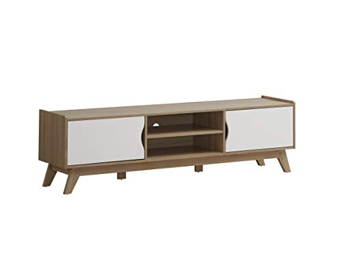 Myoshome - Mueble TV Salon Mesa para TV Color Roble y Blanco 150 x 40 x 50 cm Leonardo