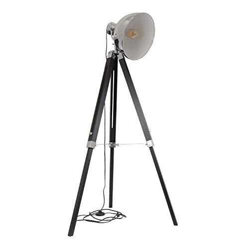 Home Deco Light - Lámpara industrial trípode (cromo y blanco)