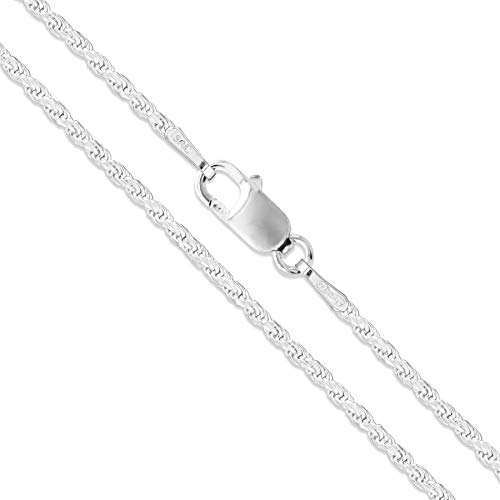 Sterling Silver Diamond-Cut Rope Chain 1.5mm Solid 925 New Necklace 24'