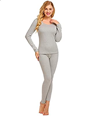 Ekouaer Women's Ultra Soft Thermal Underwear Long Johns Set with Fleece Lined