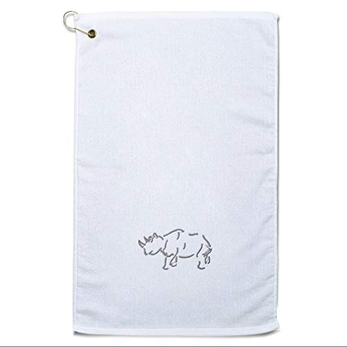 Style In Print Golf Towel Rhino Outline Cotton Bag Accessories White