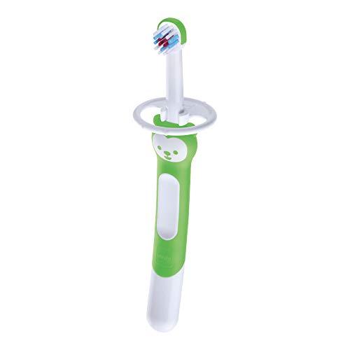 Mam Training Brush, Cepillo de dientes para niños con mango largo, 5 meses, verde