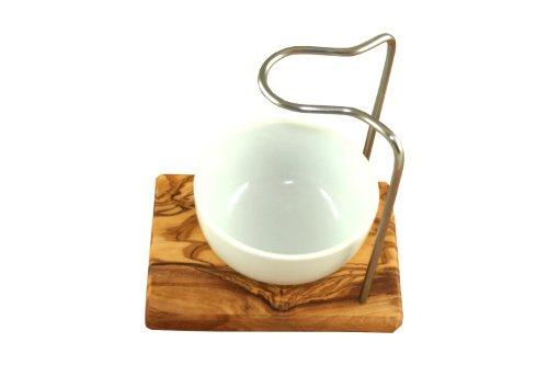 D.O.M. Rasierpinselhalter Design aus Olivenholz mit Porzellanschale rund 8,5 cm