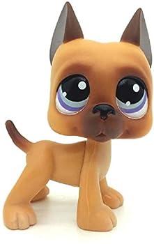 N/N Littlest Pet Shop LPS Toy Rare LPSs Brown Great Dane Dog Puppy Blue Eye Toy