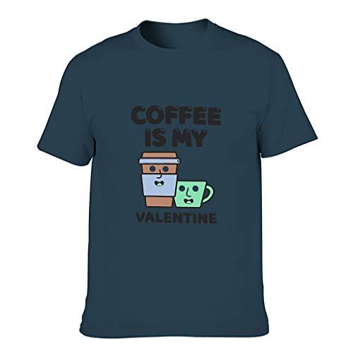 Camiseta de algodón para hombre 'Kaffee ist Mein San Valentín', multicolor, corte moderno, diseño de manga corta azul marino XXXXXL