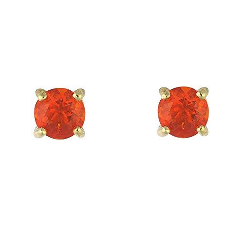 Ivy Gems Damen-Ohrringe 9 k (375) Gelbgold Opal Orange Rundschliff